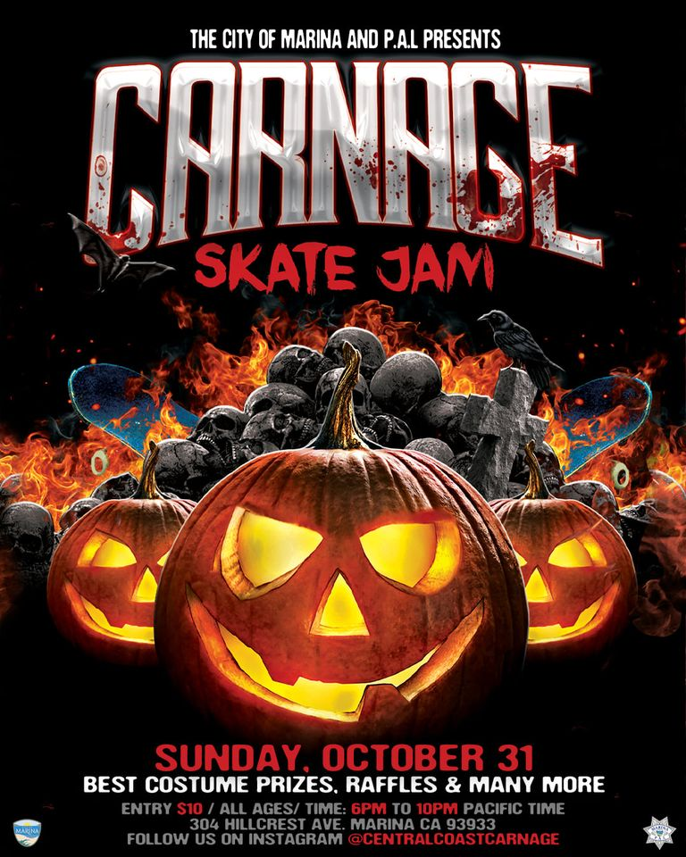 Flyer showing information about Skate Jam Halloween event in Marina, CA